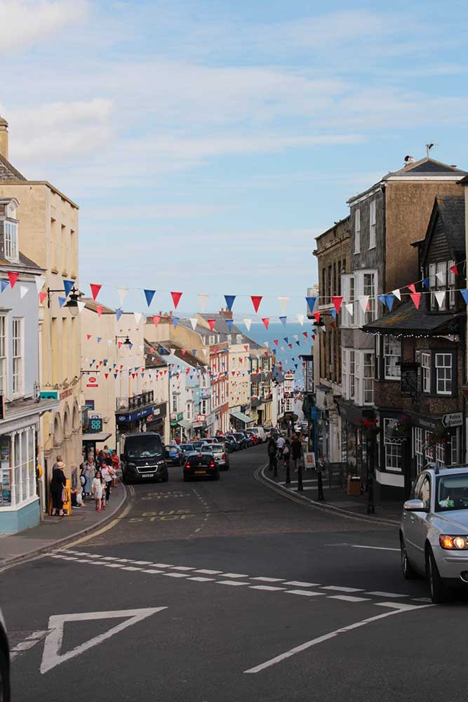 Looking down Lyme Regis High Street