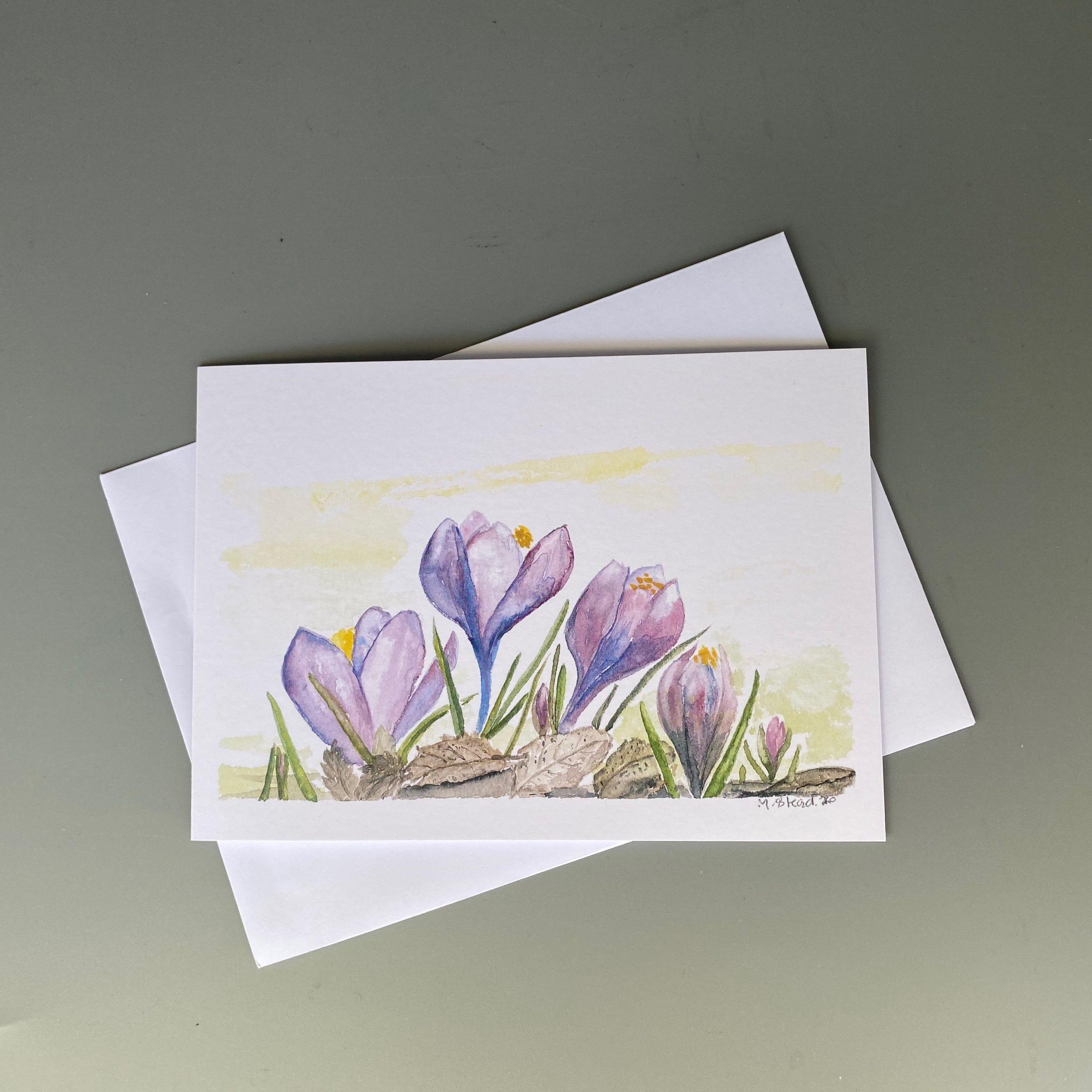 Crocus Flowers Card