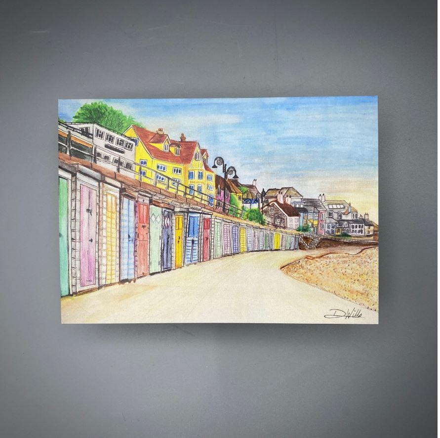 Beach Hut Postcard Painting